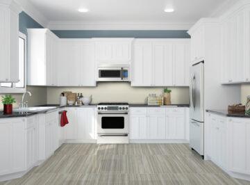 Interior einer neuen weißen Küche mit Elektrogeräten